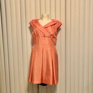 Tahari cap sleeve fitted waist box pleat dress